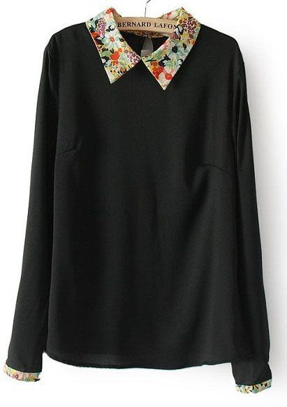 Black Contrast Floral Lapel Long Sleeve Chiffon Blouse