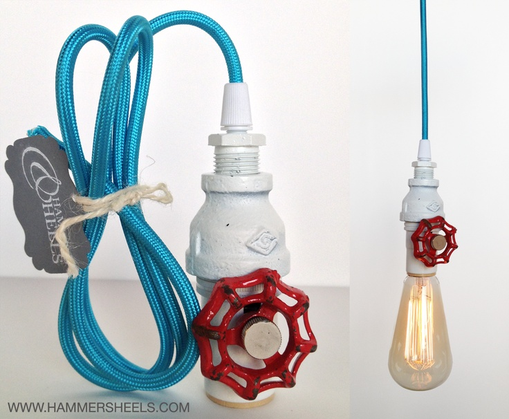 Fire truck boy's bedroom pendant light with neon blue cloth cord and upcycled red valve key by Hammers and Heels