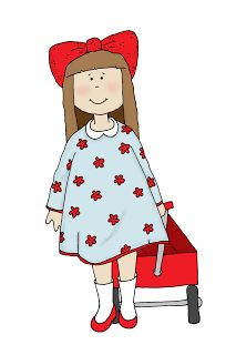 Free Dearie Dolls Digi Stamps: Girl with Wagon.....I changed her, she was just so goofy looking. lol