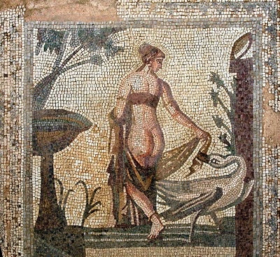 Tile mosaic depicting 'Leda and the Swan' from the Sanctuary of Aphrodite, Palea Paphos, now in the Cyprus Museum, Nicosia, Cyprus. The mosaic is estimated to be 3rd century AD.