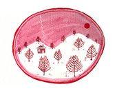 Rotahorn-Baum-Landschaft, ursprüngliche Malerei, roter, rosa und weißer rustikaler Aquarell-roter Himmel-Sonnenuntergang, Schnee bedeckte Hügel-Waldtinten-Zeichnung