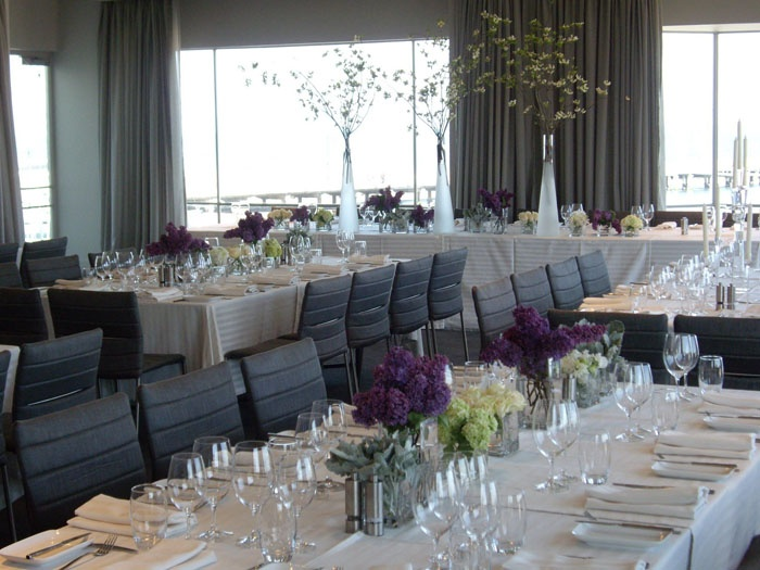 With panoramic views of St Kilda pier and remarkable sunsets, the Harbour Room is located upstairs at the Royal Melbourne Yacht Squadron.  http://www.foodanddesire.com.au/harbour-room/