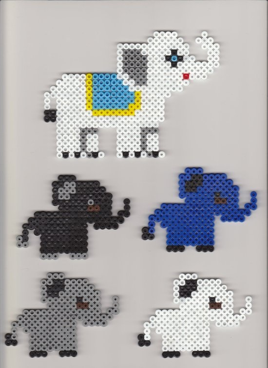 Perler pattern: Elephants  Use as numbers or letters