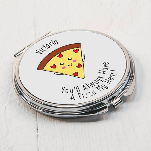 Personalise this pun-tastic compact mirror with your chosen name of up to 15 characters. The metal mirror is 7cm in diameter and is a double sided mirror on opening