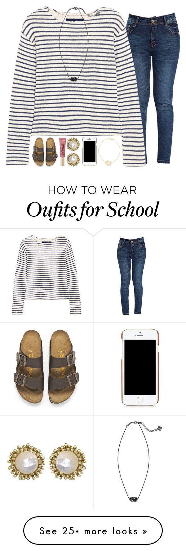 """""""Almost Every Girl in My School Has a Kendra Scott Necklace"""" by evieleet on Polyvore featuring NLST, Kendra Scott, Birkenstock, Too Faced Cosmetics, Moschino and Sarah Chloe"""