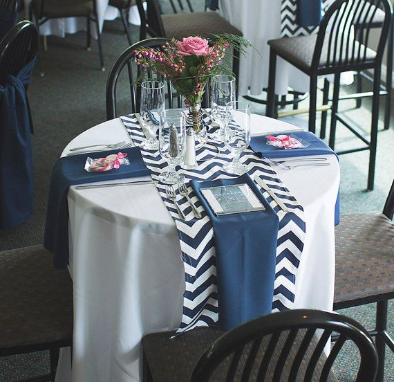 Select A Size Navy Blue And White Chevron Table Runner Wedding Nautical Shower Holidays Home Decor Customizable