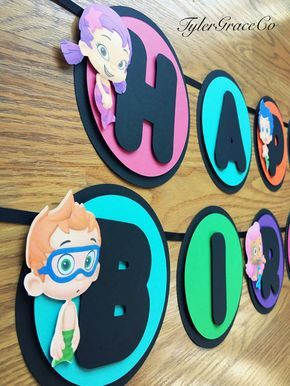 Bubble Guppies Birthday Banner, Happy Birthday, Black Chalkboard Look