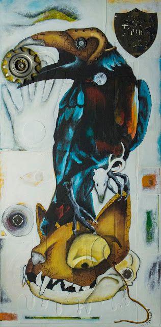 """Angela Menzies Art: """"Perdu"""", a steampunk raven."""