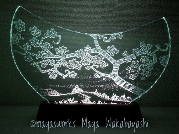 Cherry BlossomEtched Glass and LED Stand USB L size by mayasworks    日本販売サイト mayasworks Amazon.co.jp #BASEec #creema #minne  #mayasworks_lighting #新築祝い #結婚祝い #結婚記念日 #誕生日 #プレゼント #贈り物 #ガラス #sakura #さくら #サクラ #チェリー #cherry #blossom #house #church #教会 #日本 #JAPAN #madeinjapan #ライト #照明 #ランプ #birthday #anniversary #wedding #moving #gift #present #lamp #hill #丘 #glass #etched #春 #spring #スプリング #flowers #花