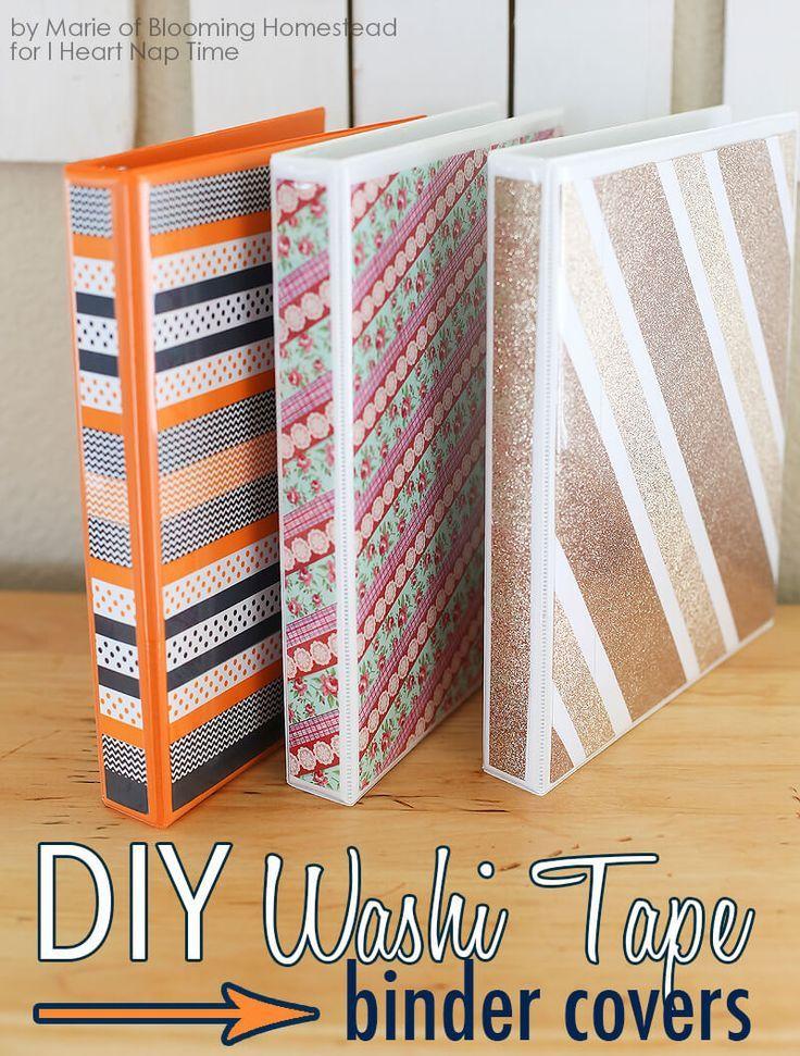 Diy Binder Covers Diy Washi Tape Manualidades Washi Und Diy
