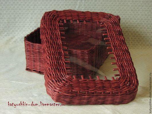Корзины, коробы ручной работы. Ярмарка Мастеров - ручная работа. Купить Плетеная коробка с прозрачной крышкой. Handmade. Разноцветный