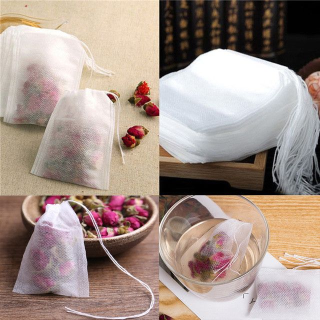 100Pcs/Lot Teabags 5.5 x 7CM Empty Scented Tea Bags With String Heal Seal Filt er Paper for Herb Loose Tea