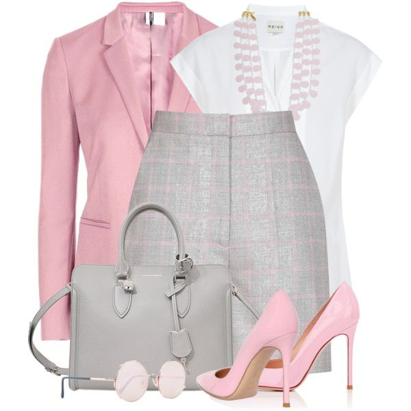 Shorts, Blazer & Heels by brendariley-1 on Polyvore featuring Reiss, Topshop, Gianvito Rossi, Alexander McQueen, Kenneth Jay Lane and Sunday Somewhere