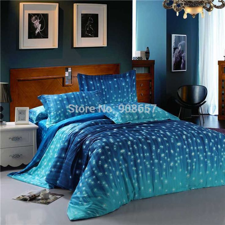 bedroom florence blue galaxy bedding set one cotton fitted sheet two pillow cover two bed sham shining star duvet cover matching bedskirt flat sheet cotton