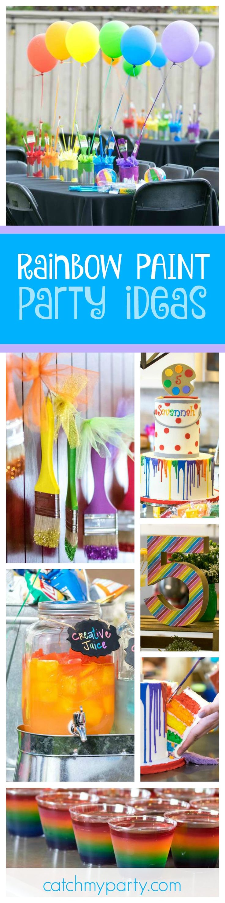 Don't miss this fantastic Rainbow Paint 5th Birthday Party. The table settings are so colorful!! See more party ideas and share yours at CatchMyParty.com
