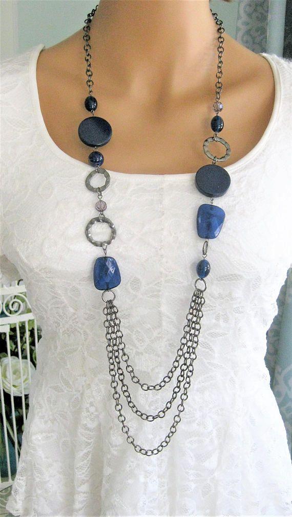 Lange blauwe Multi Strand halsketting, Beaded halskettingen, Multi Strand blauw kralen kettingen, Multi Strand kettingen, metalen ketting, N909