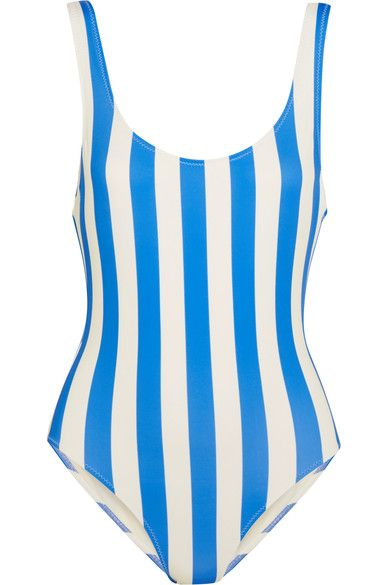 Blue and white stretch-polyamide Pulls on 80% polyamide, 20% elastane; lining: 85% polyamide, 15% elastane Hand wash Designer color: Sea Stripe Lotion, sunscreen, oil and chlorine can cause discoloration of this item; this is not a manufacturing defect. Please follow care instructions to keep your swimwear in the best condition Imported