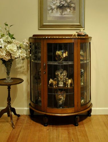 Antique Leadlight Mirror Back Half Round Oak Display