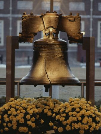 Close View of the Liberty Bell, and Flowers Beneath It ...