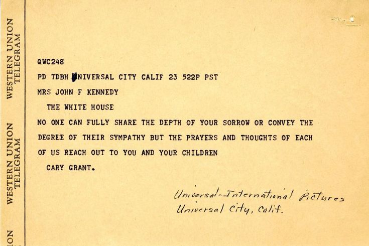 Condolence letter from Cary Grant to Jacqueline Kennedy
