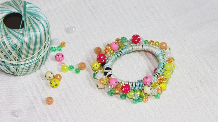 ビーズ・シュシュの作り方・編み方 diy bead scrunchie tutorial - YouTube