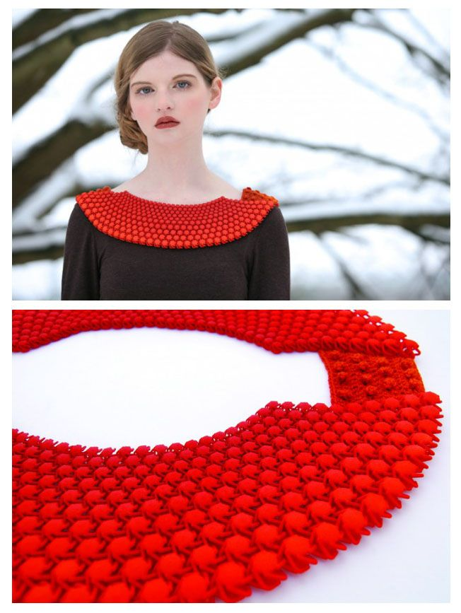 Tactile Collars - dyed 3d printed nylon mesh assembled at the sides with silk crochet - Carrie Dickens