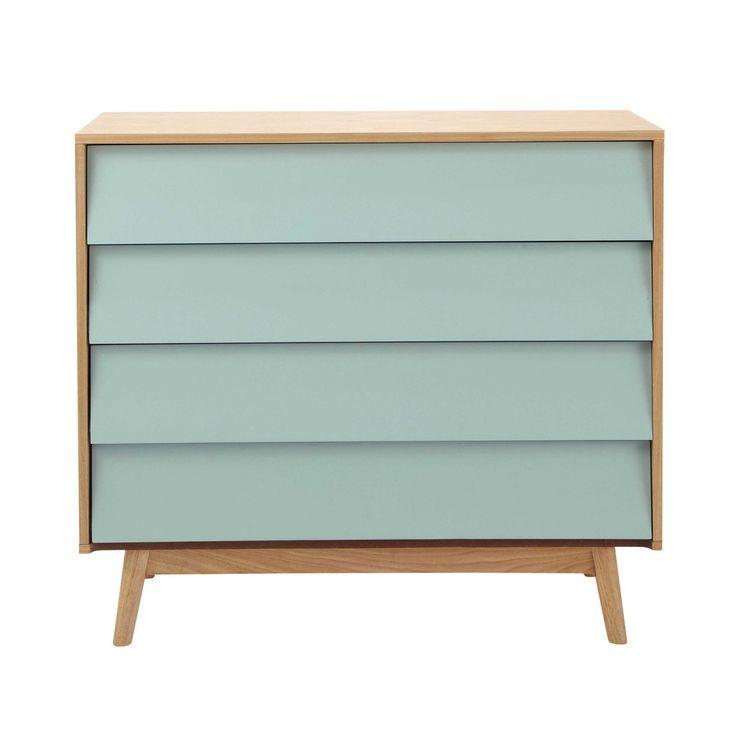 Kommode mit 3 Schubladen, grau Wooden chest, Drawers and Bedrooms - wohnzimmer blau holz