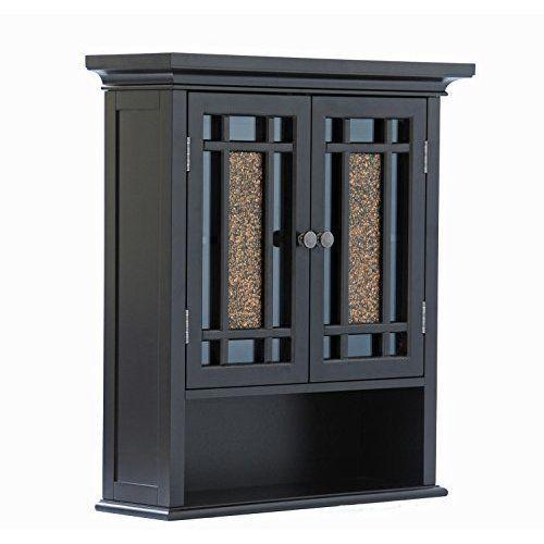 Bathroom Medicine Cabinet Wall Hanging Storage Cupboard Shelves Wood Glass Black #ElegantHome