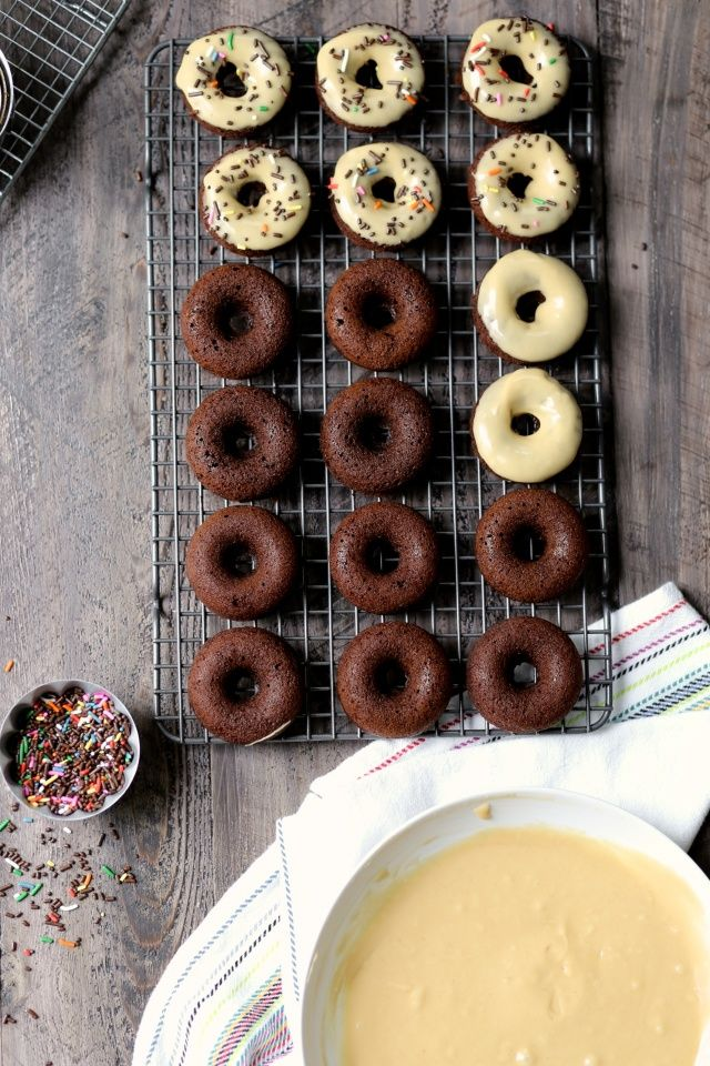 Chocolate Peanut Butter Baked Donuts