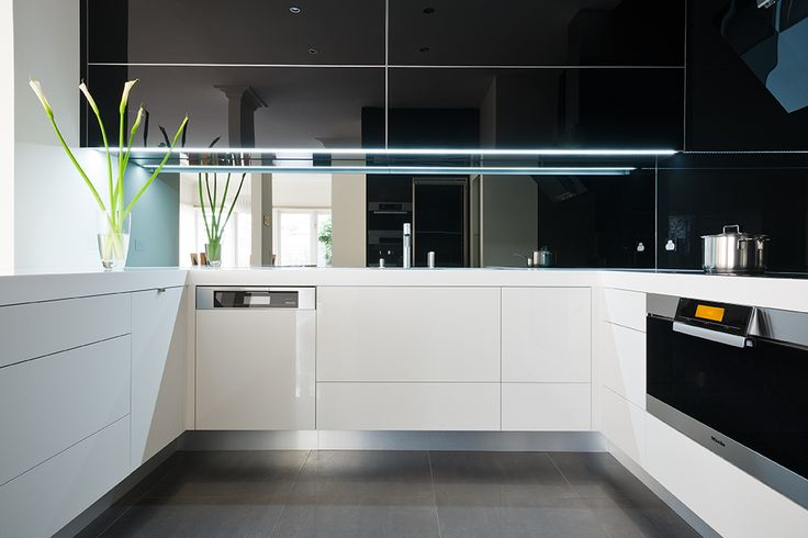 """Good lighting can totally transform your kitchen area.  Great lighting can take it to the next level. LED strip lighting is used here with high gloss, mirror finish doors from ALBEDOR'S """"True Reflections"""" range and the results are spectacular. For more info on our range of high gloss finishes visit our website www.albedor.com.au"""