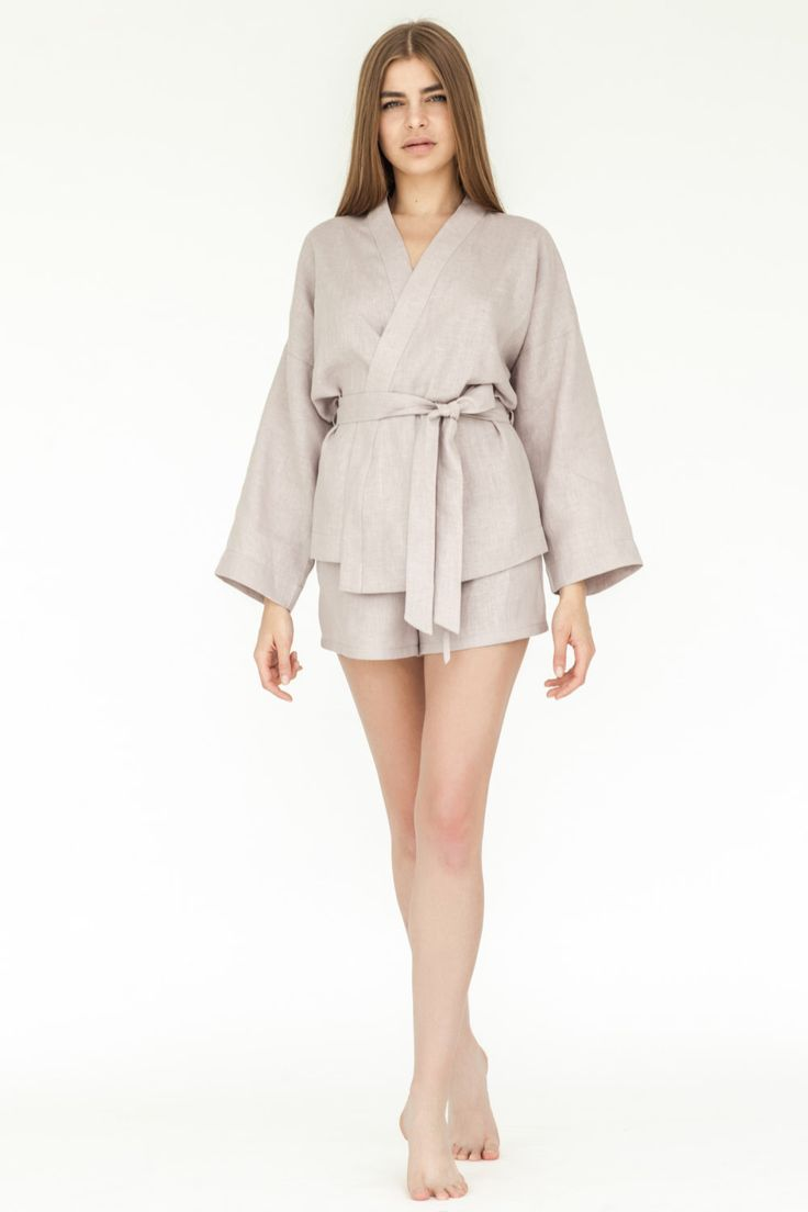 Linen Kimono Pajama Jacket, Linen SPA Set, Natural 100% Linen Womens Clothing, Nightwear, Home wear Gift for Lady Precious Gift by RubyRobe on Etsy https://www.etsy.com/listing/471530815/linen-kimono-pajama-jacket-linen-spa-set