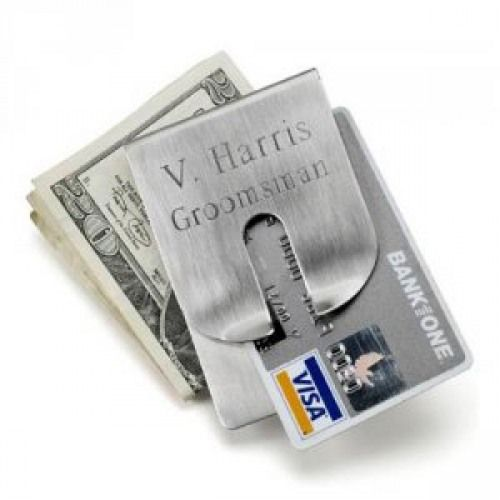 A classic gift for the classy chap: an engraved silver money clip wallet. Sleek, sophisticated and perfect as a groomsmens gift, father-of-the-bride gift or bachelor party gift.
