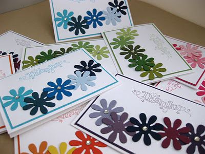 thank you cards by Victoria Rogers.... simple, but colorful punch flower layout