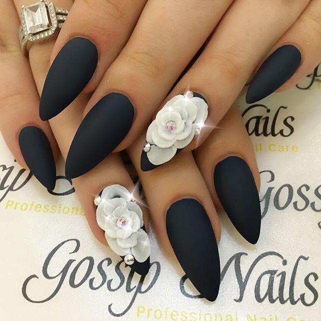 Matte + Black + White 3D Flowers + Almond Nails