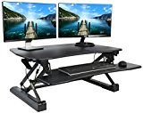 """VIVO Black Deluxe Height Adjustable Standing Desk 35"""" Tabletop Monitor Sit to Stand Laptop Riser Removable... Enhance your work experience with DESK-V000DB, VIVO's height adjustable tabletop desk. https://thehomeofficesupplies.com/vivo-black-deluxe-height-adjustable-standing-desk-35-tabletop-monitor-sit-to-stand-laptop-riser-removable-keyboard-tray-platform-converter-desk-v000db/"""