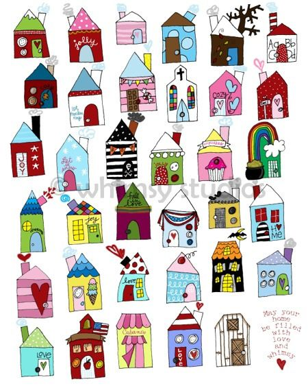 This piece could inspire dozens of new ideas.  It could be a classroom project or a travel journal piece or an ongoing journal of your children's drawings of houses that are eventually put into a book or collaged onto a large artwork like this one.  It would also be a fun stitchery project! (G. Lynne)