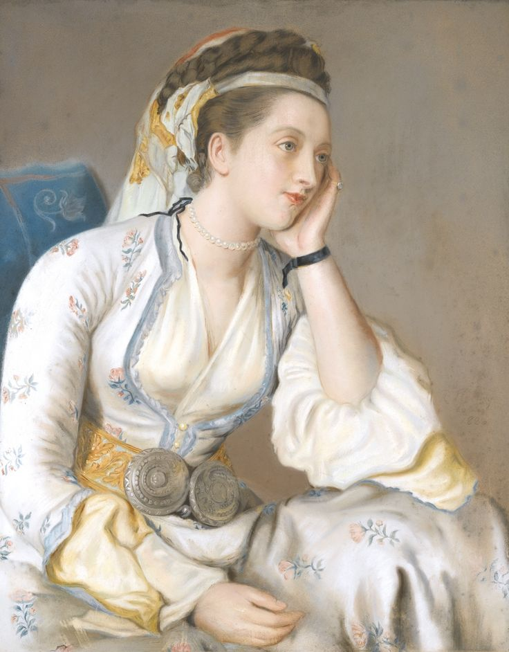 The Comtesse de Coventry in Turkish dress, signed by Fleming after Liotard, London, dated 1820 pastel on paper laid down on canvas 74.5 by 62cm.: