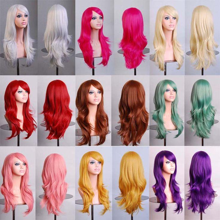 Купить товарГорячая 70 см длинные вьющиеся черные/redpink/коричневый 12 цвета Аниме Косплей парик, Высокое качество женщин партии канекалон волокна синтетические волосы, парики в категории Искусственные парикина AliExpress.               &nbs