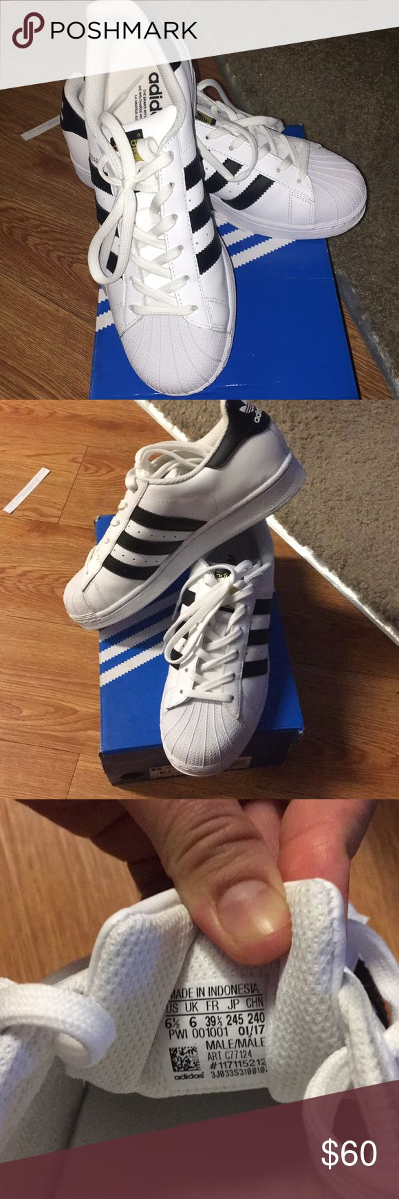 Adidas Superstar Original NWOT Brand new! Never worn/never used...very cute! With gold accent brand name in front..its bigger than my size..size 6.5 for men or can be size 7.5 for women adidas Shoes Sneakers