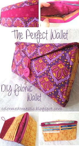 DIY The Perfect Fabric Wallet... 6 card slots, coin pocket, bill slot, receipt slot, great tutorial!