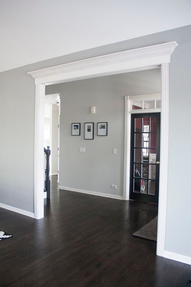 Love this paint color with the dark floors