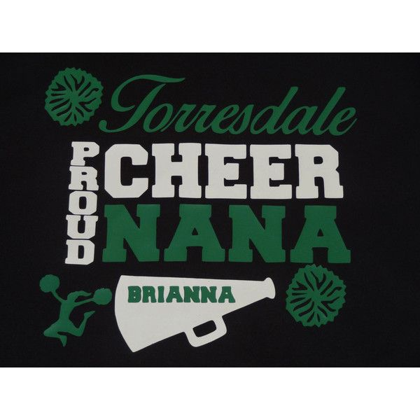 Proud Cheer Nana Grandmom Dad Mom Personalized Team Colors Cheerleader... ($12) ❤ liked on Polyvore featuring tops, t-shirts, dark olive, women's clothing, long short sleeve t shirts, pom pom shirts, short sleeve tee, long tops and long length t shirts