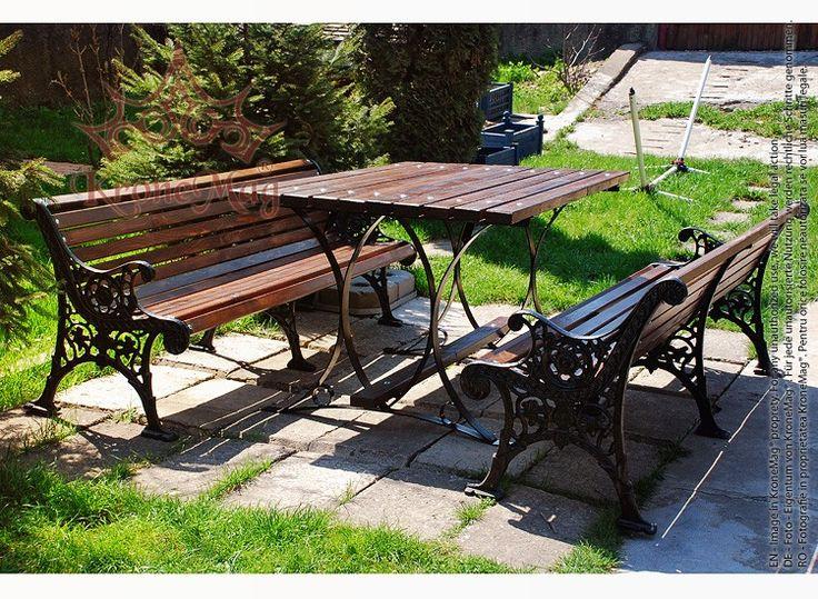 Set mobilier parc PRAGA alcatuit din 1 masa si 2 banci de exterior.