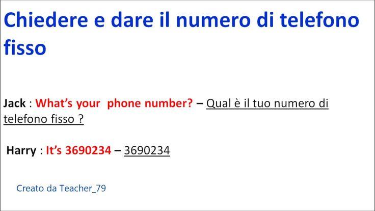 inglese base - chiedere e dare numero di telefono fisso e numero di cell...