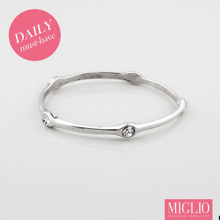 #musthave item: Essential #silver and #swarovski #crystal #migliodesignerjewellery B1181 #bracelet for your stack-it-up #style