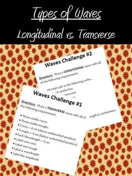 Students will complete seven different tasks with this lesson.  Types of waves can be a simple topic to teach.  This activity will allow students to be engaged while they move around the room completing different challenges as they review the differences between longitudinal and transverse waves.