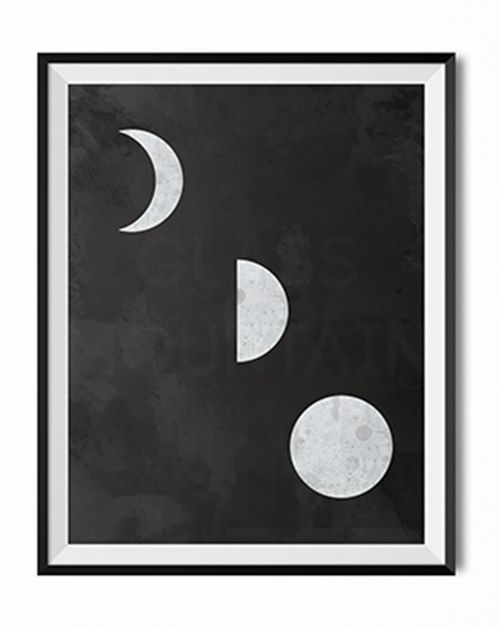 Moon phases wall art print by TheGlassMountain on Etsy