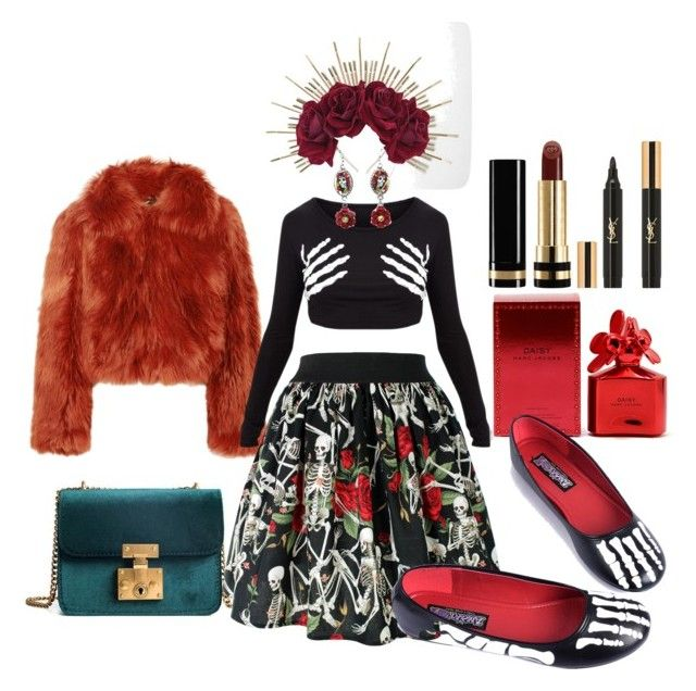 Dia de los muertos by illetilmote on Polyvore featuring Maison Margiela, Lulu in the Sky, Yves Saint Laurent, Gucci and Marc Jacobs