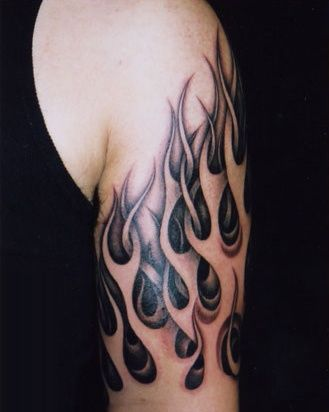 White flames tattoo tattoo black and gray pinterest for Black and white flame tattoo
