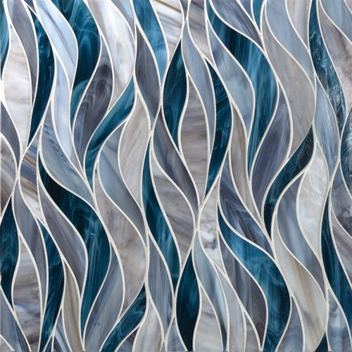 Artistic Tile - (Tailored To) Water Jet with Detroit Brown and Denim Blue - Medium Blue Glass Tile